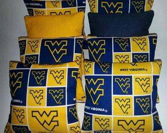 Set Of 8 West Virginia Mountaineer Cornhole Bean Bags FREE SHIPPING