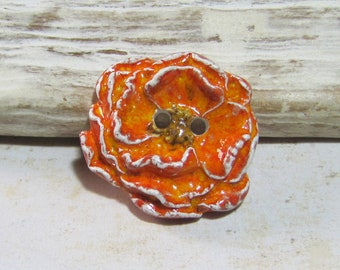 Small ceramic poppy poppy orange white button