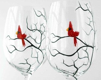 Christmas Cardinal Wine Glasses - Set of 2 Hand Painted Holiday Wine Glasses
