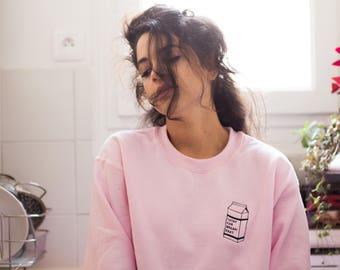 i stay for breakfast pink milk sweatshirt