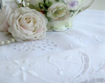 Two Embroidered Vintage Centerpieces, Open Cutwork Doilies, Drawnwork Linens, Drawnwork White on White Embroidery, by mailordervintage