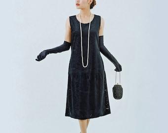 Black flapper dress with burnout velvet, black Great Gatsby dress, 1920s velvet dress, Charleston dress, flapper costume, 20s women dress