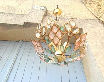 Gold and glass toleware ceiling chandelier. 3 light chandelier with frosted glass prisms, mid century Murano style ceiling light.