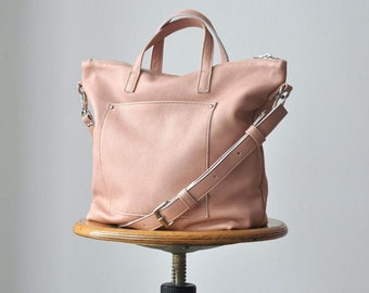 MARTINA BAG Borsa a tracolla, borsa pelle, borsa rosa cipria, borsa di pelle con zip, tracolla in pelle, borsa primavera