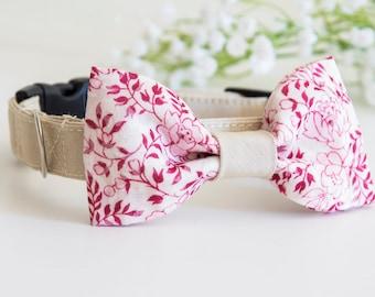 Dog BowTie Collar - Mrs. Cloe - in Romantic Pink Floral print