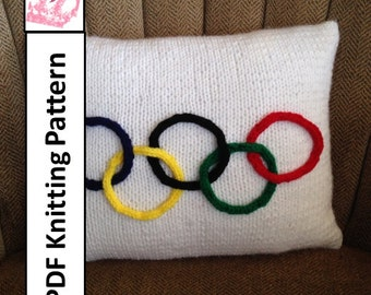 PDF KNITTING PATTERN - Olympic flag 12x 16 pillow cover