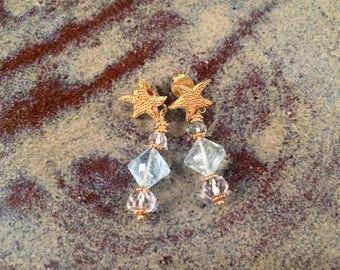 Natural Aquamarine in 18K gold Starfish earrings