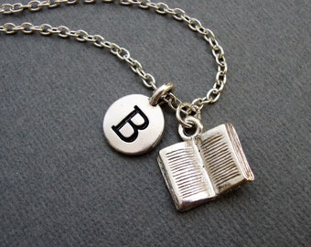 Book Necklace, Novel Necklace, Open Book Bangle Bracelet, Gift for Student or Teacher, Silver Keychain for Book Worm, Avid Reader Reading