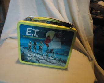 Vintage 1982 E.T. The Extra-Terrestrial Lunch Box With Thermos & Tag, collectable, lunchkit
