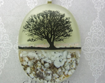 Tree at Sunset Dichroic Pendant, Handmade Fused Glass Jewelry from North Carolina