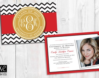 Customizable Graduation Announcement/Invitation - With Photo  - COLLEGE or HIGH SCHOOL - Monogrammed - Printable Digital File