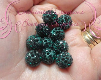 10mm Forest Green Pave Rhinestone Beads Qty 10, Clay Beads, Pave Jewelry Making, Sparkly Bead, Bling Bubblegum Beads, Chunky Beads, Gumball