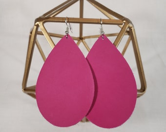 Large Leather Teardrop Earrings, lightweight leather earrings, variety of colors, accent pieces