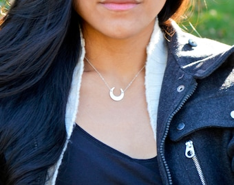 Gold or Silver Inverted Crescent Moon Necklace, Gold Moon Necklace, Silver Crescent Pendant, Moon Pendant, Goddess Necklace