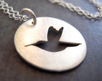 Tiny hummingbird necklace, silver hummingbird necklace, hand-cut sterling silver bird necklace.