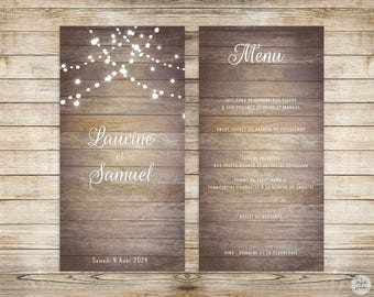 Country collection - Menu - wedding invitation