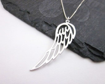 Silver Wing Pendant Necklace, Silver Angel Wing Necklace, Silver Wing Charm Necklace, Guardian Angel Necklace, Women's Angel Necklace