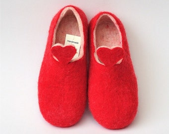 Red and white handmade felted slippers, HEART