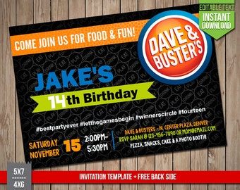 DAVE & BUSTERS Invitation - Dave and Busters Invite, Editable Text PDF Birthday Party Invitation, Instant Download