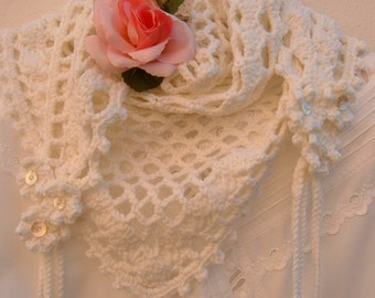 crocheted scarf in pure white wool with flowers and braids-knitted crochet-romantic and feminine style. Hand made soft shawl