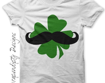 Mens Mustache Iron on Transfer - Shamrock Iron on Shirt PDF / Irish Mustache Shirt / Kids St Patricks Day Tshirt / Green Boys Shirts IT189