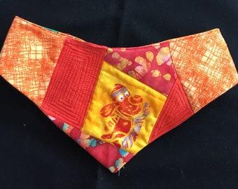 QK4-1725 L Red/Orange Stenciled Pup Quilt-Kerchief