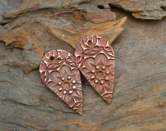 Delicate Drop Copper Earring Charms (1 pair)