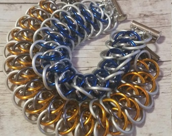 BB-8 or R2D2 inspired chainmaille bracelet - viperscale - star wars inspired