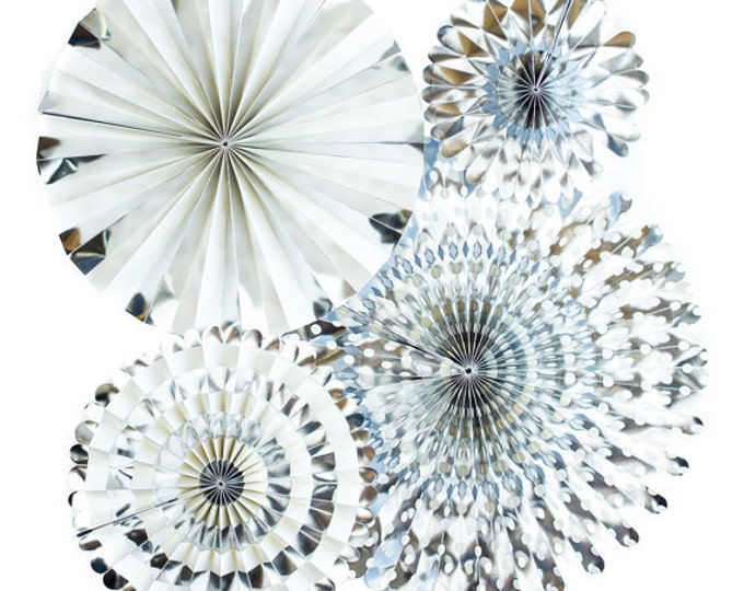 Silver Rosettes and Party Fans Silver, Metallic Silver Pom Wheel, Paper Medallions Paper Pinwheel