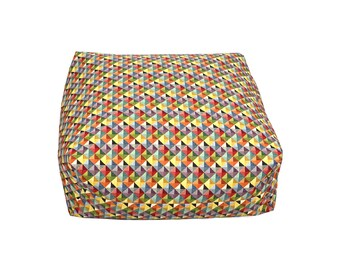 Floor cushion pouffe beanbag with geometric pattern
