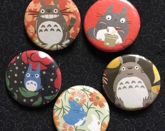 "Ghibli Totoro 1.25"" Buttons Origami Pinbacks Set of 5 #1"