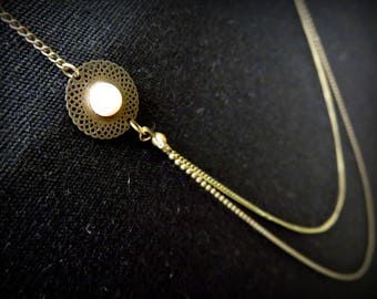 Art deco asymmetrical brass and ivory cabochon necklace two levels