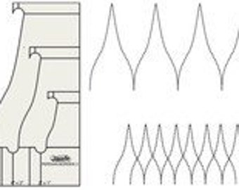 """Freemotion Quilting Template Persian Nested Set 2"""" X 1"""" 4"""" X 2"""" and 6"""" X 3"""" WT-PB-2"""