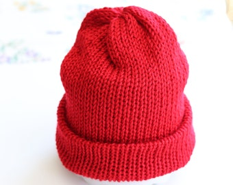 Red Beanie - Knit Winter Hat - Red Slouchy Hat - Knitted Cap Red - Adult Winter Beanie - One Size Fits Most Adults Knitted Winter Hat
