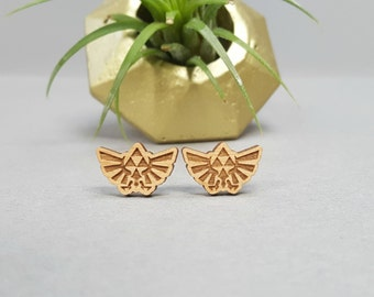 Zelda TriForce Wingcrest Earrings - Laser Engraved on Alder Wood - Nintendo Legend of Zelda