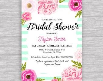 "Mint Stripe Bridal Invitation Digital File: ""MINT STRIPE INVITATION"" with floral, flower, pink, mint, green accents for baby/bridal shower"