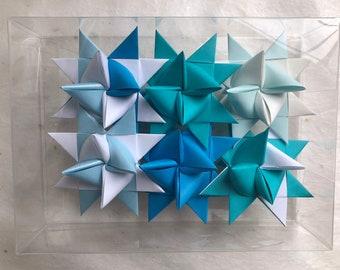 Moravian Paper Star Ornaments Blues (3 inch)
