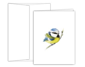 Blue Tit Blank Note Cards | Baby Shower Thank You Cards | All Occasions Note Cards | Blank Greeting Cards | Bird Greeting Cards