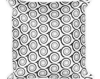 Spiral black and white Square Pillow