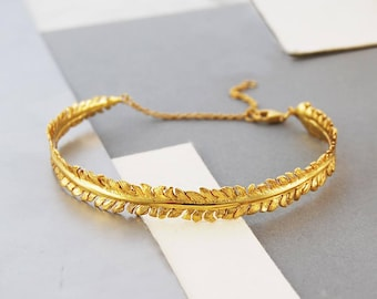 Gold Bracelet, Cuff Bracelet, Gold Cuff, Bracelet Bangle, Boho Bracelet, Rustic Bracelet, Organic Bracelet, Bracelet Gold, Fern Bracelet