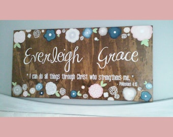 2' x 4' Wooden Rustic Name / girls room / flowers nursery wall decor large crib sign