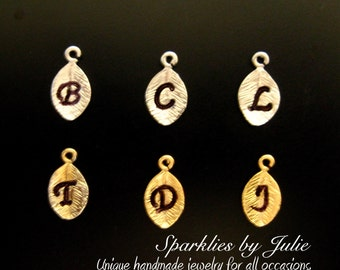 ADD an INITIAL Leaf Charm, Hand Stamped, Gold or Rhodium Plated Leaves, Custom Charm, Personalize Your Jewelry, Add on To Your Family Tree