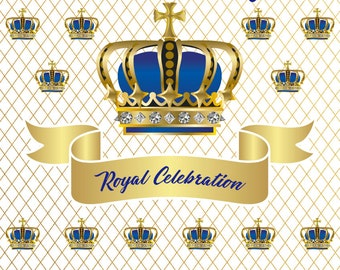 Custom Royal Baby Shower Prince Backdrop You Pick Colors Custom Printed Party Backdrop Photo Background (Multiple Sizes Available)
