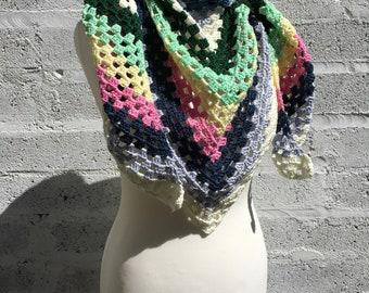 Colorful Triangle Crochet Shawl / Striped Triangle Scarf / Women's Stole / Cosy Shoulder Wrap
