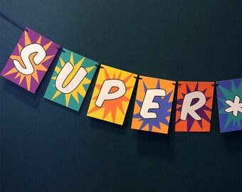 Superhero Birthday Banner, superhero garland, superhero party, superhero decor, hero decorations, comic book, boy birthday, colorful party