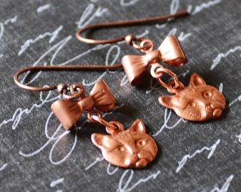 Cat Earrings, Kitty Earrings, Copper Earrings, Cat Charms, Cat Lover Gift, Cat Jewelry, New Kitten Cat Gift, Vet Gift, Pet Remembrance Gift