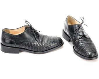 US men 8.5 Black Leather Shoes Vintage Woven Derby Shoes Braided Men Retro 80s Shoes Comfortable Oxford Shoes Made in England . Eur 42 Uk 8