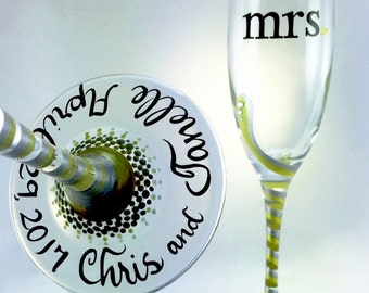 mr. and mrs. Wedding Toasting Flutes with optional personalization