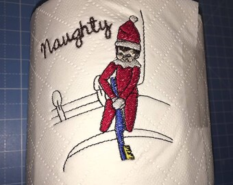 Novelty Embroidered 'Elf with toothbrush' toilet roll **ideal gift**, elf on the shelf