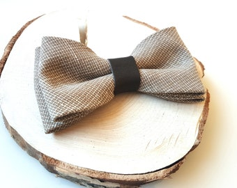 Linen and cotton bow tie- Linen and cotton bowtie- Bow tie with leather- Pretied bowtie- Pretied bow tie- Best seller- Top- Leather bow tie